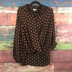 Pleione Faux Wrap XL Blouse Black Orange Chevron